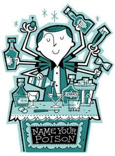 """""""Busy Bartender"""" by Derek Yaniger --[derekart.com]"""