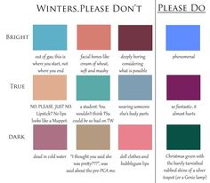Please No Colours for Winters Blueprints) Paleta Deep Winter, Deep Winter Palette, Cool Winter Color Palette, Deep Winter Colors, Clear Winter, Winter Light, Dark Winter, Dark Autumn, Winter Typ