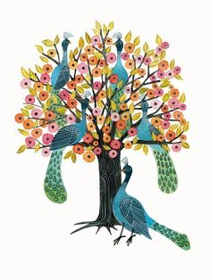 """Peacock Tree"" Watercolor Illustration Print by Geninne on Etsy"