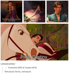 Disnumblr Trois Well played, Disney… (Tangled was actually going to be a sequel to the Enchanted film.This is awesome! Disney Pixar, Walt Disney Animation, Disney Marvel, Disney Magic, Disney Cartoons, Humor Disney, Disney Amor, Funny Disney Memes, Disney Facts