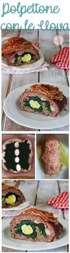 POLPETTONE DI CARNE farcito con #uova e #spinaci perfetto per #pasqua e con il passo passo per realizzarlo
