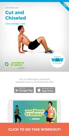 Want a #cut and #chiseled #body? This workout will help you get there, focusing on building strong #arms, #abs and #legs. This is a bodyweight workout so all you really need is an exercise mat or towel. Remember, complete each exercise with maximum repetitions and embrace the burn! http://skm.me/sw/hN