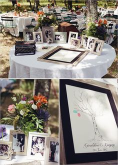 the family wedding photos and the thumbprint tree guest book are exactly what I was planning on.