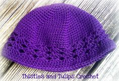 Thistles and Tulips Crochet Kufi Hat