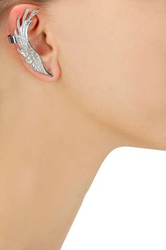 Silver plated textured feather earcuff with crystal stud earring set by Bansri. Shop now: www.perniaspopups.... #earcuff #cute #designer #bansri #pretty #accessory #shopnow #perniaspopupshop #happyshopping