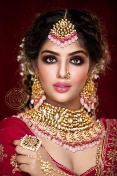 Bridal Makeup Images, Best Bridal Makeup, Bridal Hair And Makeup, Bride Makeup, Girls Makeup, Indian Bridal Photos, Indian Bridal Jewelry Sets, Indian Jewellery Design, Bridal Jewellery
