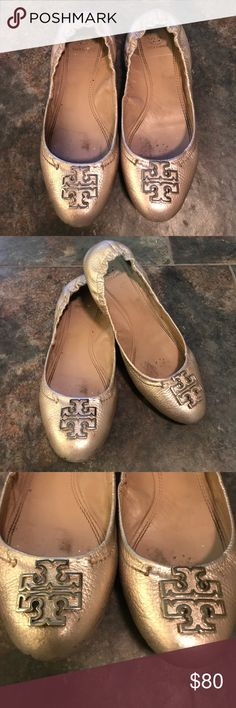 d4dca373c7 Tory Burch Metallic Flats Good Condition 🎉🎉 💯 Authentic. Well loved with  a lot