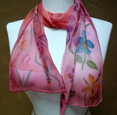 Silk Scarf Handpainted Chiffon Pink Floral Beaded by silkworth, $39.00