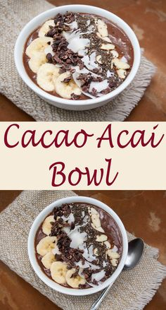 Cacao Acai Bowl - Dessert for breakfast, yes please! Actually this vegan smoothie bowl is very healthy, but you will feel like you are eating an indulgent dessert!