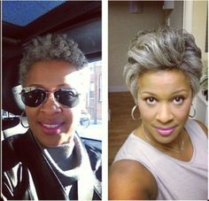 Versatility at any age! The beauty of Natural Hair...I want to look like her...good black seriously doesn't crack :))