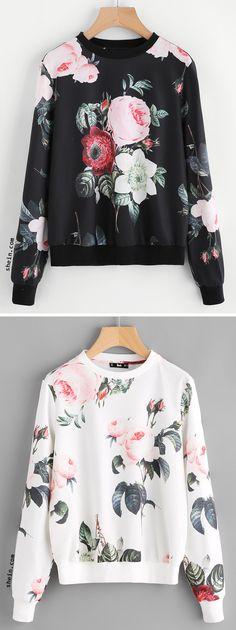 Flower Print Pullover
