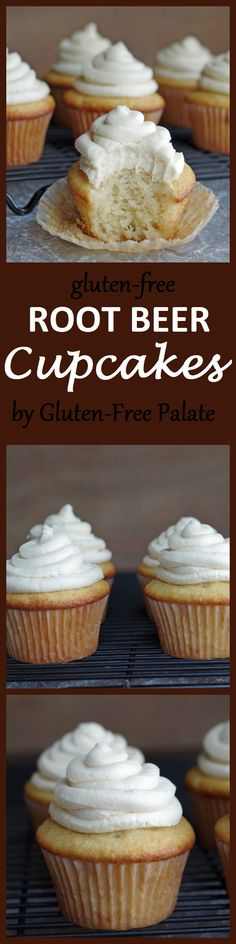 These #glutenfree Root Beer Cupcakes By Gluten-Free Palate are a fun twist to a traditional vanilla cupcake.