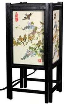 Red Lantern Oriental Furniture Birds Table Lamp with Paper Shade at Lowe's. This stylish Japanese lamp features a traditional painting printed in high definition on authentic washi rice paper. The lamp emits a serene glow and Lantern Lamp, Red Lantern, Lanterns, Electric Lantern, Chinese Lamps, Japanese Lamps, Japanese Art, Oriental Decor, Oriental Furniture