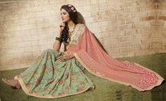 Peach & Pastel Green Color Half Smart Net & Half Wrinkle Chiffon Function & Party Wear Sarees : Jiyansh Collection  YF-43408