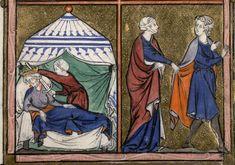 Laurent frère, Somme le Roi (La) (1295), Paris, Bibliothèque Mazarine, Ms.0870, f°147-3, « Judith et Holopherne, Joseph et la femme de Putiphar ». DOSSIER ICONOGRAPHIQUE.
