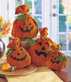 4 BURLAP PUMPKINS SET Fall Harvest Halloween Craft Ideas Tablescape Fabric Decor #NA