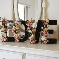 Beautiful antique and cream mini rose blooms arranged with patrina seed and foliage and set on a bed of preserved moss. LOVE sets available in 8 and 12 as well as individual letters A-Z, &, # Floral Room, Floral Nursery, Flower Letters, Diy Letters, Initial Decor, Diy Nursery Decor, Gift Bouquet, Diy Wedding Flowers, Pinterest Diy