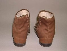 Shoes  Date: 1840s Culture: American or European Medium: leather, linen