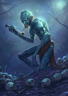 The Ghoul is an undead creature found in Arabic folklore and legend, most significantly in The One Thousand and One Nights, which makes the. Fantasy Rpg, Dark Fantasy Art, Medieval Fantasy, Dark Art, Mythological Creatures, Mythical Creatures, Art Cthulhu, Arte Obscura, Angels And Demons
