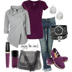 """""""plum & grey"""" by enjoytheview on Polyvore. Love the grey sweatshirt, bummer sold out! Awesome purple Toms."""