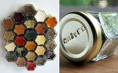 magnetic spice jars . . . interesting, since you see the contents, not the top of the jar with the name of the spice.