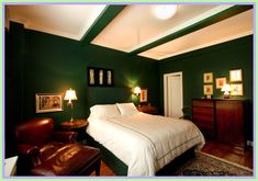 Master Bedroom Green decor-#Master #Bedroom #Green #decor Please Click Link To Find More Reference,,, ENJOY!! Green Bedroom Colors, Green Bedroom Design, Green Bedroom Walls, Dark Green Walls, Green Interior Design, Brown Walls, Bedroom Paint Colors, Bedroom Color Schemes, Green Rooms