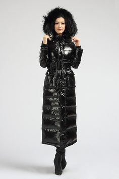 Ski Fashion, Fashion Outfits, Womens Fashion, Long Down Coat, Long Coats, Nylons, Hooded Winter Coat, Langer Mantel, Rain Wear