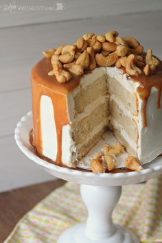 Vanilla Malt Layer Cake with Cashews and Salted Caramel