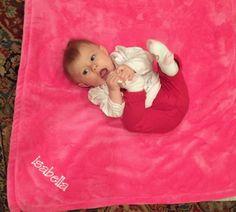 Luxurious Personalised  Baby Blanket Embossed Rosebud Blue Butterfly Boy gift