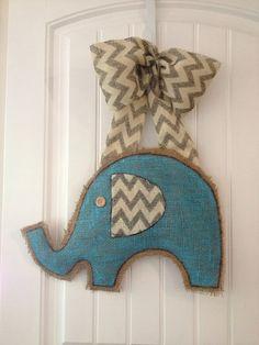 Burlap baby elephant shower wreath door hanger by handsNhearts