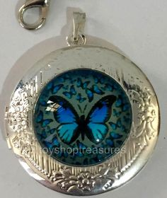 New Vintage Style Blue Butterflies Life Locket Necklace - Silver  bf