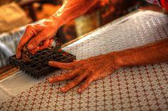 Printing batik at Batik Plentong, Yogyakarta, Indonesia.