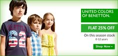 Get FLAT 25% OFF on ‎#brand United Colors Of Benetton on ‎#Kids ‎#clothing.