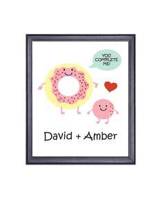 $8 Customized Printable Art, You Complete Me Donut Art, Doughnut and Doughnut Hole, Pink Donut
