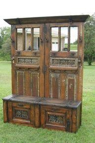 DIY Door Hall Tree | old doors made into a hall bench and coat storage