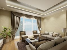 Natural  Modern Design In Living Room With Lighting Ceiling Plus Gray Curtain Glass Window And Plant Corner Also Wooden Table Feat Elegant Sofa Modern Design Can Apply For Many Types of Residence Interior Design http://seekayem.com