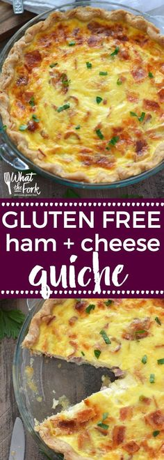 Gluten Free Ham and Cheese Quiche is perfect for breakfast, brunch, or dinner. Easy quiche recipe is great for a summer morning breakfast! @WhatTheForkBlog | whattheforkfoodblog.com #glutenfreequiche #hamandcheesequiche #glutenfreebreakfast