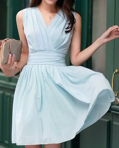 $12.67 Ruffled V-Neck Solid Color Beam Waist Casual Chiffon Dress For Women