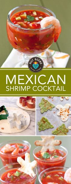 I love to make this spicy shrimp cocktail for Christmas Eve, New Years Eve, and football parties.The spicy cocktail sauce made with freshly chopped red onions, cilantro, and avocados is the perfect light and easy appetizer or healthy lunch. Traditionally this shrimp cocktail is served with saltine crackers, but I made Christmas shaped baked flour tortilla chips dusted with Old El Paso taco seasoning mix.