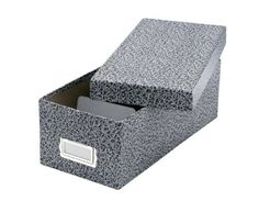 Oxford Reinforced Board 6 x 9 Index Card Storage Box with LiftOff Cover BlackWhite Agate 40591