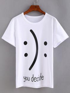 Camiseta estampada de emoticon -blanco …