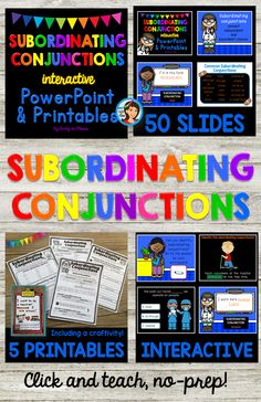 Subordinating conjunctions are easy to teach when you use this no-prep interactive PowerPoint and printables set. We learn about three main types of conjunctions, and then we focus specifically on subordinating conjunctions. There are more than 32 hands-on quiz style activity slides that encourage active learning. The animated slides and sound effects are sure to engage and stimulate your students! From Lindy du Plessis @ TPT