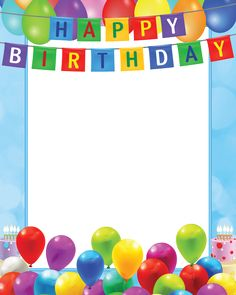 Happy Birthday Transparent PNG Blue Frame