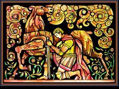 """Иллюстрации к аудиогиду-спектаклю для национального музея Лондона, выставки кельтских артефактов. """"Легенда о Редвальде"""".  Художник Владимир Зенин"""