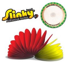 Slinky(R) Adhesive Notes - Round - 100 Sheets  Works like a sticky note, fun like a Slinky(R)! Slinky(R) Adhesive Note Pads feature alternating glue and reminds everyone of their favorite childhood toy. Each note has repositionable adhesive at the top. Slinky(R) Notes are printed in four color process on the front. Red, Blue, Yellow, Black and White are available for backside imprint of each sheet.