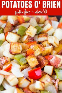 Potatoes O Brien is an easy skillet recipe with red and green bell peppers, onio. - Whole 30 - Peppers Green Pepper Recipes, Red Potato Recipes, Onion Recipes, Recipes With Green Peppers, Chicken Recipes, Fried Breakfast Potatoes, Fried Red Potatoes, Fried Potatoes And Onions Recipe, Real Food Recipes