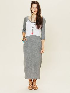Free People All Night Baseball Maxi-- this would look cuter and more pulled together with a belt and cardigan