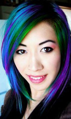 green, purple, & blue hair