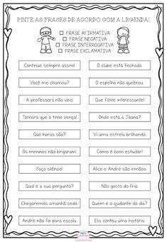Atividade - Tipos de Frases Homeschool, Reading, Tutu, Writing Activities, Reading Activities, Kids Learning Activities, Mother's Day Activities, Sight Word Activities, Sentence Writing