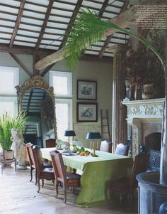 Converted barn from the home of Andrea Filippone and William Welch, featured in the new Elle Decor. I would change some details, but I love the mix of rustic and refined.